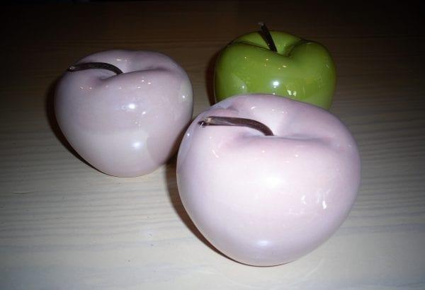 decoratieve porceleine appel Roos en groen 2