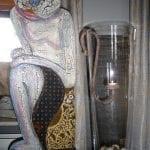 glazen vaas met hangend roet ijzeren waxcine licht