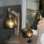 houten bureau lamp goud