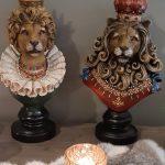 Decoratie leeuw 17 x 17 x 37 clayre en eef