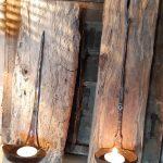 ijzeren lepel op drijfhout